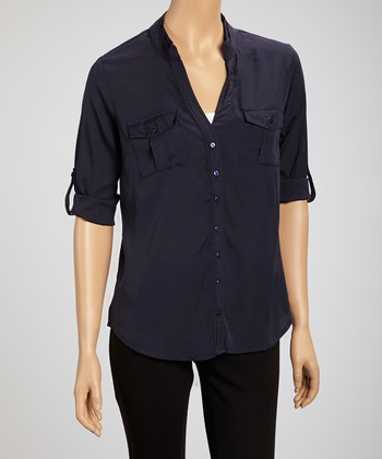 Navy Marine Button-Up