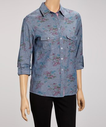Blue Floral Chambray Button-Up
