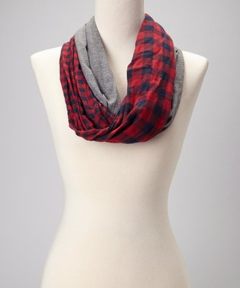 Red & Gray Plaid Jersey Infinity Scarf