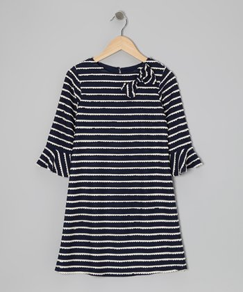 Navy & White Stripe A-Line Dress - Girls