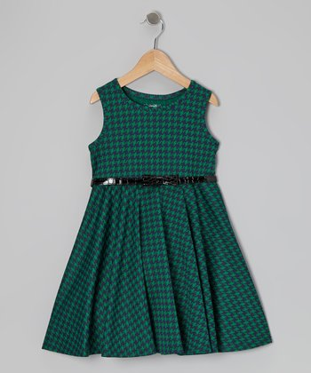 Green & Black Houndstooth Dress - Girls