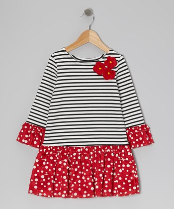 Red & Black Stripe Dress - Girls