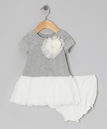 Heather Gray Flower Dress & Diaper Cover - Infant