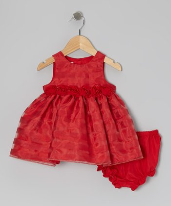 Red Rosette Dress & Diaper Cover - Infant