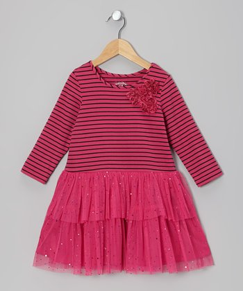 Fuchsia Stripe Tutu Dress - Girls
