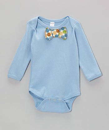 Blue Polka Dot Bow Tie Bodysuit - Infant