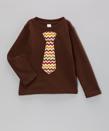 Brown Zigzag Tie Tee - Toddler