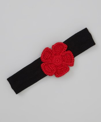 Black & Red Crocheted Rose Headband