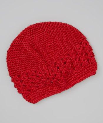 Truffles Ruffles Red Crocheted Beanie