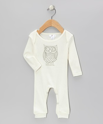 Truffles Ruffles Ivory 'Whooo's Your Baby' Owl Playsuit - Infant
