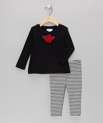 Black Crocheted Rose Tunic & Stripe Leggings