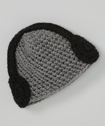 Gray & Black Crocheted Headphone Beanie