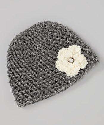 Cupc4ke Gray & Cream Crocheted Flower Beanie