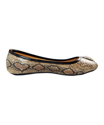 Light Brown Snakeskin Flat
