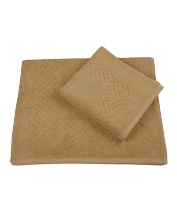 Gold Jacquard Orleans Bath Mat - Set of Two