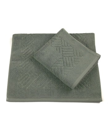 Sage Green Jacquard Orleans Bath Mat - Set of Two