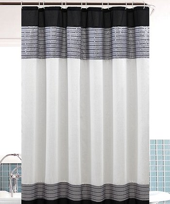 White & Black Sequin Bahamas Shower Curtain