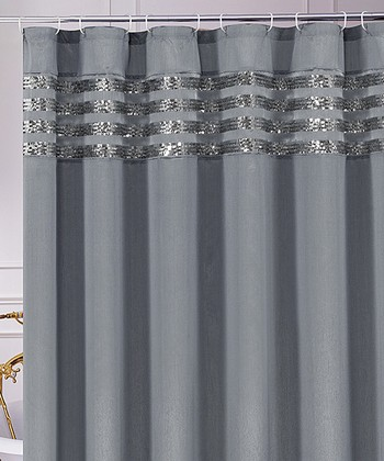 Gray Sequin Moline Shower Curtain