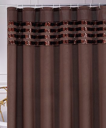Brown Sequin Moline Shower Curtain