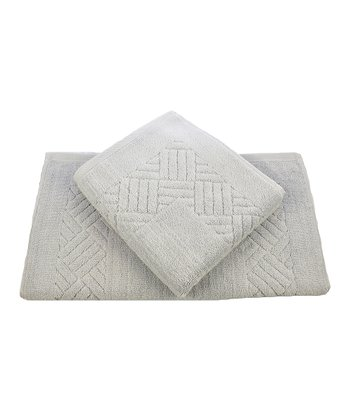 Silver Gray Jacquard Orleans Bath Mat - Set of Two