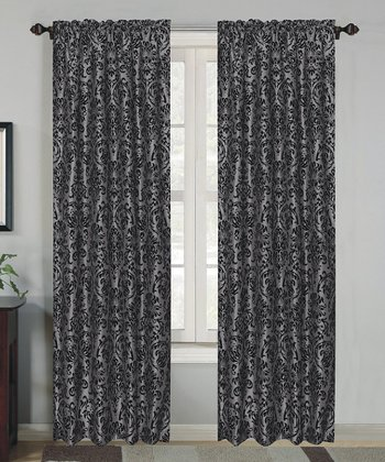 Silver Robin Flock Curtain Panel - Set of Two