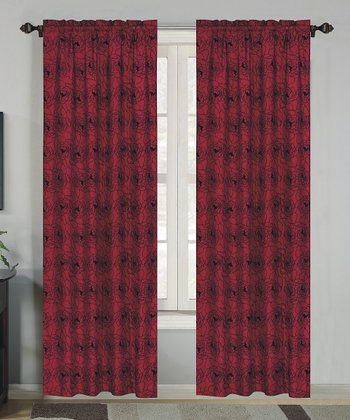 Black & Red Rose Flock Curtain Panel - Set of Two