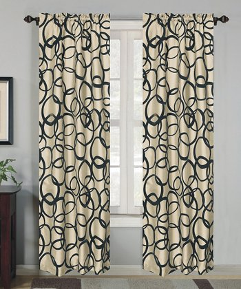 Ivory Metro Flock Curtain Panel - Set of Two