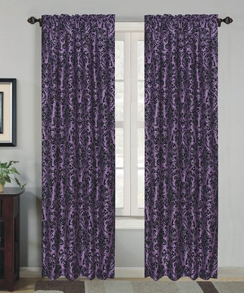 Purple Robin Flock Curtain Panel - Set of Two