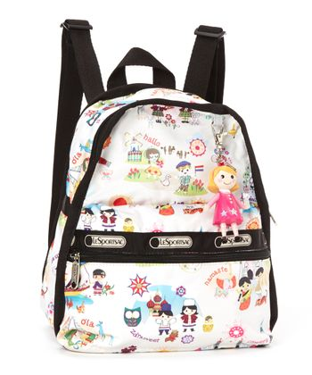 White Around the World Mini Basic Backpack & Charm