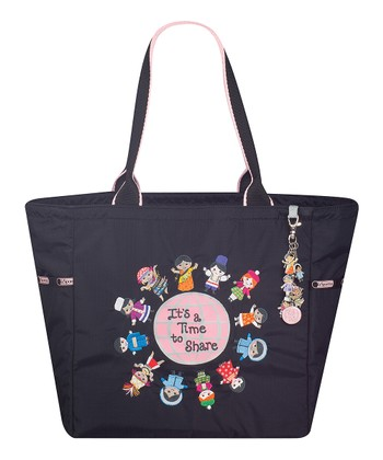 Black Time to Share Tote & Charm