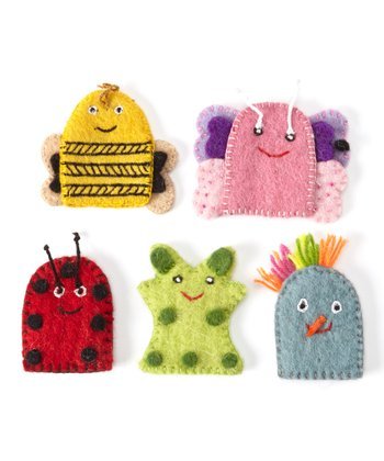 Felted Colorful Finger Puppet Set