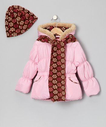Pink Floral Faux Fur Jacket Set - Girls