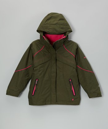Olive & Pink Hooded Jacket - Girls