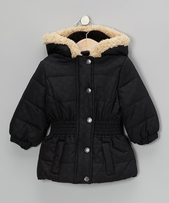 Black Faux Fur Puffer Coat - Infant