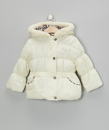 Cream Faux Fur Puffer Coat - Toddler