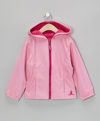 Pink Rugged Bear Hooded Jacket - Toddler & Girls