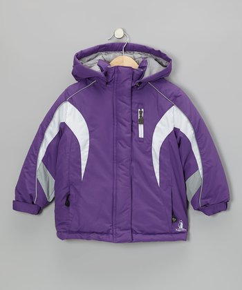 Purple Rugged Bear Puffer Coat - Toddler