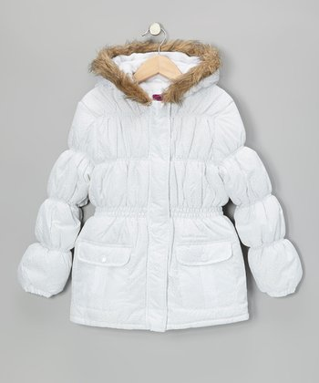 White Faux Fur Hooded Puffer Coat - Girls