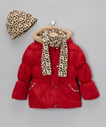 Red Leopard Puffer Coat Set - Toddler & Girls