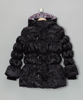 Sleek Black Puffer Coat - Girls
