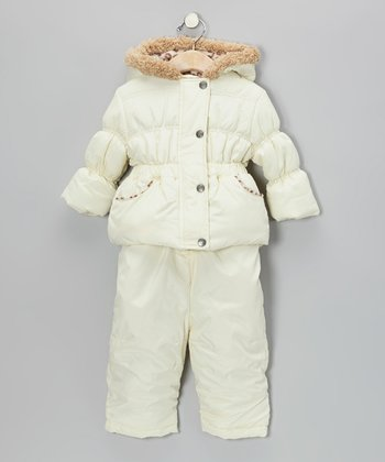 Cream Puffer Coat & Snow Pants - Infant