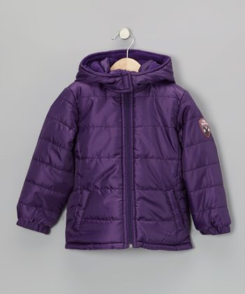 Purple Hooded Puffer Coat - Girls