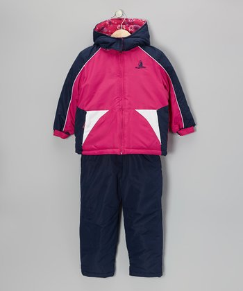 Navy & Pink Coat & Snow Pants - Infant & Girls