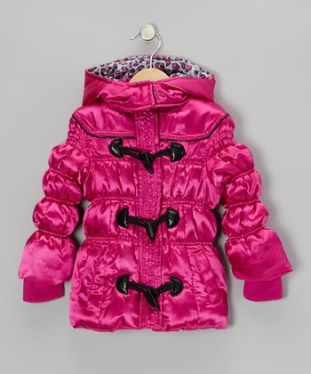 Hot Pink & Black Puffer Coat - Toddler