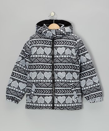 Black & White Heart Coat - Girls