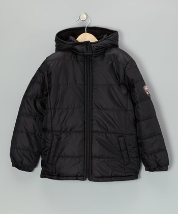 Black Hooded Puffer Coat - Girls