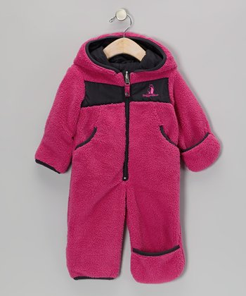 Fuchsia Fleece Hooded Jumpsuit - Infant