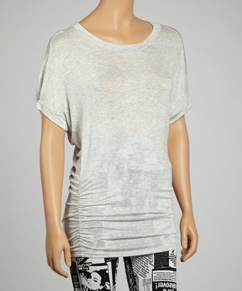 Light Gray Ruched Tee