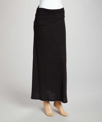 Black Banded-Waist Skirt