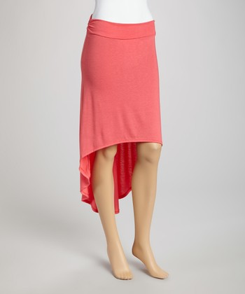 Coral Ruffle Hi-Low Skirt